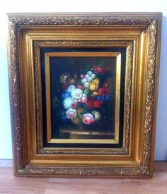 ÖLGEMÄLDE mit Blumen Motiv  Stilleben mit GOLDRAHMEN im Barockstil aus NACHLASS