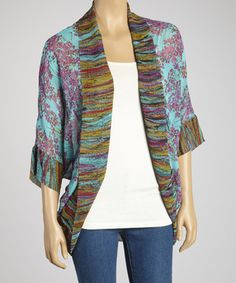 Take a look at this Turquoise Floral Open Cardigan by Figueroa & Flower on #zulily today!