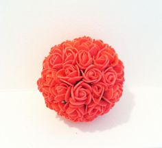 Coral Wedding pomander kissing ball by babybaharcollection on Etsy, $15.50