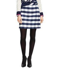Wool Blend Buffalo Check Pencil Skirt Navy-White     76.80