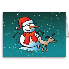 Dog Peeing on a Snowman Greeting Cards Funny Snowman, Dog Pee, Holiday Cards, Disney Characters, Fictional Characters, Greeting Cards, Snoopy, Postcards, Dogs