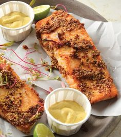 Recetas con salmón (Baked Salmon with Mustard Crust) Healthy Cooking, Cooking Recipes, Healthy Recipes, Healthy Food, Seafood Recipes, Mexican Food Recipes, Fisher, Deli Food, How To Cook Fish