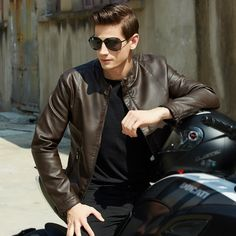2017 New Winter Jacket Men Leather Stand Collar Biker Jackets and Coats Male Pu Men's Fur Coat Brand-Clothing Motorcycle