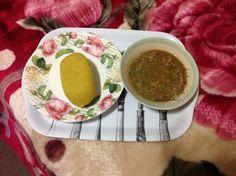 Garri and okra soup