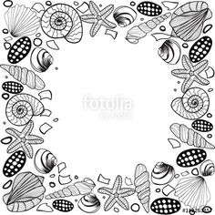 Vector: Hand drawn Seashell border frame Vector