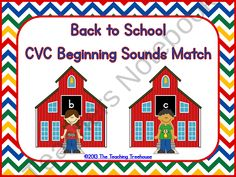 "Back to School CVC Beginning Sounds Match""! Students match the CVC word pictured on the kid to the schoolhouse that has the letter it begins with. Beginning Of Kindergarten, Kindergarten Language Arts, Beginning Of The School Year, Kindergarten Literacy, Preschool, I Love School, Back To School, School Fun, First Grade Freebies"