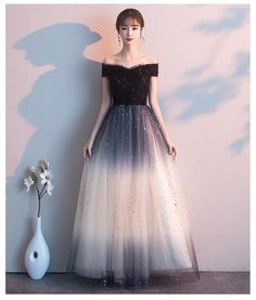Beautiful Black Off Shoulder Tulle Gradient Long Party Gown, Long Prom – BeMyBridesmaid Long Party Gowns, Black Off Shoulder, Dressing Sense, Beautiful Prom Dresses, Wedding Events, Weddings, Affordable Fashion, Hemline, Tulle