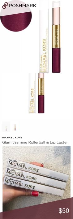 3 michael Kors Jasmin rollerball lip luster duo Each perfume rollerball is 5 ml, lip luster is in plum color . Brand new . Come with 3.  Each one is $28 in retail Michael Kors Makeup Lip Balm & Gloss