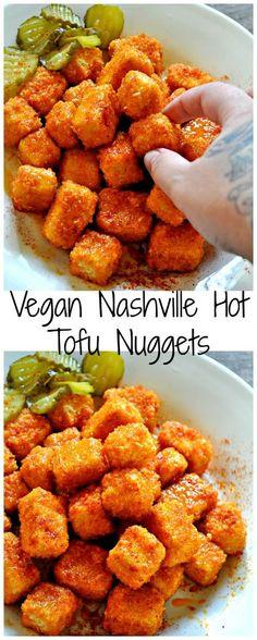 Vegan Nashville Hot Tofu Nuggets - Rabbit and Wolv. Vegan Nashville Hot Tofu Nuggets – Rabbit and Wolves Vegan Dinner Recipes, Vegan Dinners, Appetizer Recipes, Cooking Recipes, Healthy Recipes, Vegetarian Recipes Tofu, Vegetarian Nuggets, Cheap Recipes, Supper Recipes