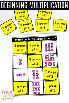 Making equal group, drawing arrays, and using number lines are taught in this unit. With hands-on and engaging activities, students will set the stage for multiplication and division. Division Activities, 2nd Grade Activities, Multiplication Activities, Math Division, Multiplication And Division, Teaching Numbers, Teaching Math, Kindergarten Math, Math Stations