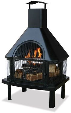 Uniflame® Black Outdoor Fireplace with Chimney & Heavy Duty Grate
