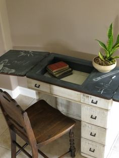 Revamp an old sewing cabinet and piano chair into an adorable desk ...