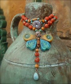 BUTTERFLY bohemian necklace with LARIMAR teardrop by GPyoga, $59.00