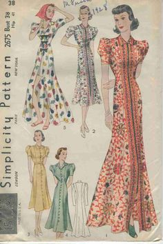 Vintage Sewing Pattern Simplicity # 2675 ERA: 1930s SKU - 70072 -