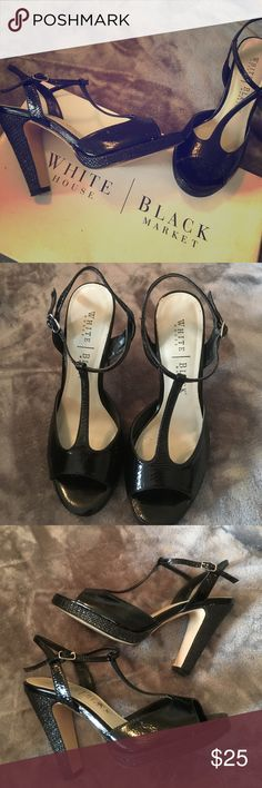 White House Black Market black open toe heels Black patent and tweed open toe heels. Fastens around ankle. Brand: White House Black Market. Size: 6M. Style name: Parlour. Shoes worn for sorority rush. Excellent condition. Original price: $88. White House Black Market Shoes Heels