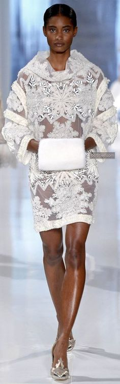 Valentin Yudashkin FW 2013-14...Interesting details & fabric. I see pants under this tunic top. Ask you seamstress for fabric suggestions that fit your budget.