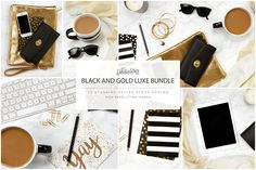 Black and Gold Luxe Styled Stock by Just Darlin Y'all on @creativemarket