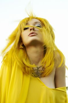 Explore your fun & optimistic nature and have a fluorescent glow of this bright yellow hair color. Yellow Hair Color, Shades Of Yellow, Yellow Makeup, Yellow Style, Hair Rainbow, Yellow Fashion, Monochrom, Happy Colors, Hair Colors