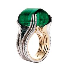 Trendy Diamond Rings : Alexandra Mor ring with Gemfields' emerald. - Buy Me Diamond I Love Jewelry, Jewelry Box, Jewelry Rings, Jewelry Accessories, Fine Jewelry, Jewelry Party, Bling Bling, Bijoux Art Deco, Emerald Jewelry