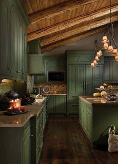 Kitchen design, many ideas that will suit you! Enjoy watching the photo. Beautiful and Cozy Green Kitchen Ideas. Frameless Kitchen Cabinets, Green Kitchen Cabinets, Kitchen Cabinet Styles, Rustic Kitchen, New Kitchen, Kitchen Dining, Kitchen Decor, Kitchen Ideas, Hickory Kitchen
