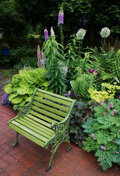 Chartreuse Garden Bench With Matching Hosta