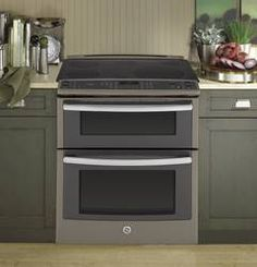 PS950EFESGE Profile 6.6 Total Cu. Ft. Slide-in Self Clean Convection Double Oven Range Slate - Big George's Home Appliance Mart