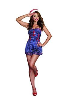From coast to coast, you'll be in hot demand wearing this flirty Just Cruisin' Sexy Sailor Costume. Comes with a polka dot romper with red sequin detailing and sailor hat. Costumes Sexy Halloween, Sexy Costumes For Women, Adult Costumes, Female Costumes, Halloween 2016, Spirit Halloween, Halloween Ideas, Army Costume, Military Costumes