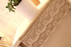 Set of 10 -Double lace Table Runner - Shabby Chic Modern Country Vintage Wedding Parties - Ready to Ship. $210.00, via Etsy.