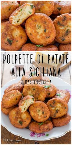 Polpette di patate alla siciliana – Famous Last Words Meat Recipes, Healthy Dinner Recipes, Vegetarian Recipes, Chicken Recipes, Cooking Recipes, Sicilian Recipes, Antipasto, Appetisers, Soul Food