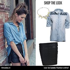 Shop the look: denim! op www.vimodos.nl   Ketting: http://www.vmds.nl/mR Denim blouse: http://www.vmds.nl/mS Leren rokje: http://www.vmds.nl/mT