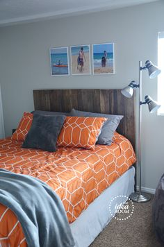 **Loving the color combo! small bedroom, used lockers as storage and a full size bed...love the decor.