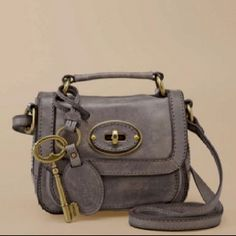Gray Leather Fossil bag
