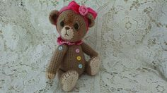 Collectible artist crochet teddy bear by SweetHeartThreads on Etsy