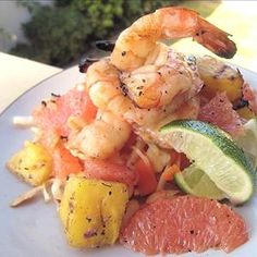 Grilled Prawn, Pineapple & Pink Grapefruit, with Cabbage Salad