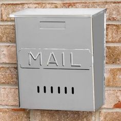 """Vertical """"MAIL"""" Wall-Mount Stainless Steel Mailbox"""
