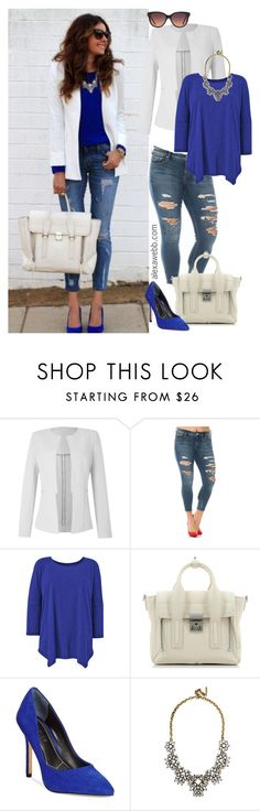 """Straight Size to Plus Size - White Blazer / Cobalt"" by alexawebb ❤ liked on Polyvore featuring Slink Jeans, 3.1 Phillip Lim, Charles by Charles David, BaubleBar, MANGO, plussize, plussizefashion, alexawebb and plus size clothing"