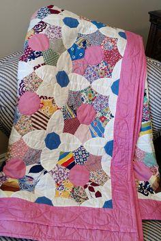 Vintage Handmade Quilt Flower Patch Quilt Beautiful Handmade