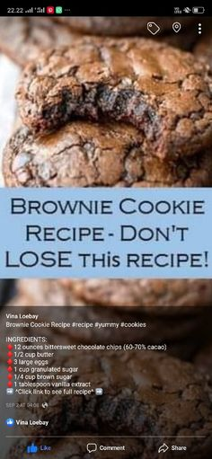 Brownie Recipes, Cookie Recipes, Baking Recipes, Dessert Recipes, Vanilla Cookie Recipe, Vegan Recipes, Mini Desserts, Delicious Desserts, Yummy Food
