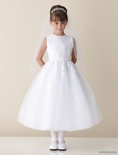 A Line Bateau Neck Ankle Length First Holy Communion Dress With Appliques Eveallure