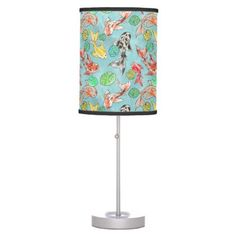 Koi pond watercolors table lamp -nature diy customize sprecial design