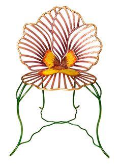Nature psychedelique : Siège sculpture en bronze Grande Fleur Pensée, Joy de Rohan Chabot.