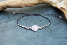 Bracelet trèfle rose opale, lien cordon prune, perles de verre Miyuki et argent 925 : Bracelet par marathi-bijoux