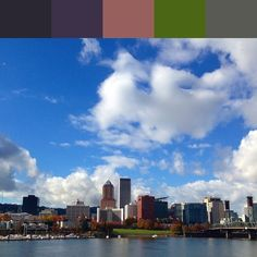 Portland skyline- color swatch please check @colorfromphoto for more info! Everyday a swath for download FREE! #colorfromphoto #portland #skyline #downtown #pnw #upperleftusa #pnw #oregon  #colorswatch #freefordownload #clouds #sky #cityscape