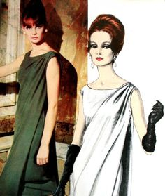 Jean Shrimpton is wearing a one piece evening dress by Jacques Heim, 1965