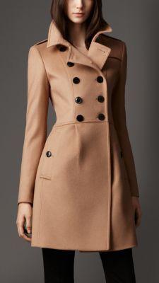 Pleat Detail Wool Cashmere Coat