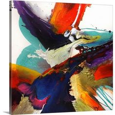 This highly energetic square wall art was created by layering splattered paint to create this contemporary abstract painting. Flourish I Colorful Abstract Art by Jonas Gerard from Great BIG Canvas. Big Canvas Art, Canvas Art Prints, Painting Prints, Canvas Wall Art, Framed Prints, Art Paintings, Framed Wall, Abstract Paintings, Canvas Size