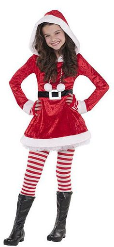 Kids Girls Christmas Santa Claus Father Suit Belted Costume Flared Swing Dress