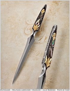 Top of the Pyramid in current Art Knives: Wolfgang Loerchner - engraver Julie Warenski, Photo by Coop