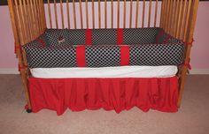 Baby boy crib bedding set Arkansas Razorbacks Red by AquaBloom, $159.99