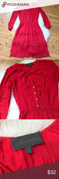 "Anthropologie Sundays In Brooklyn Boho dress Sundays In Brooklyn from Anthropologie Boho Bohemian style tiered dress. Red. Tie neck and Embroidered details. Bust 19"" Length 40"". 57% Viscose 43% Rayon. Anthropologie Dresses Maxi"